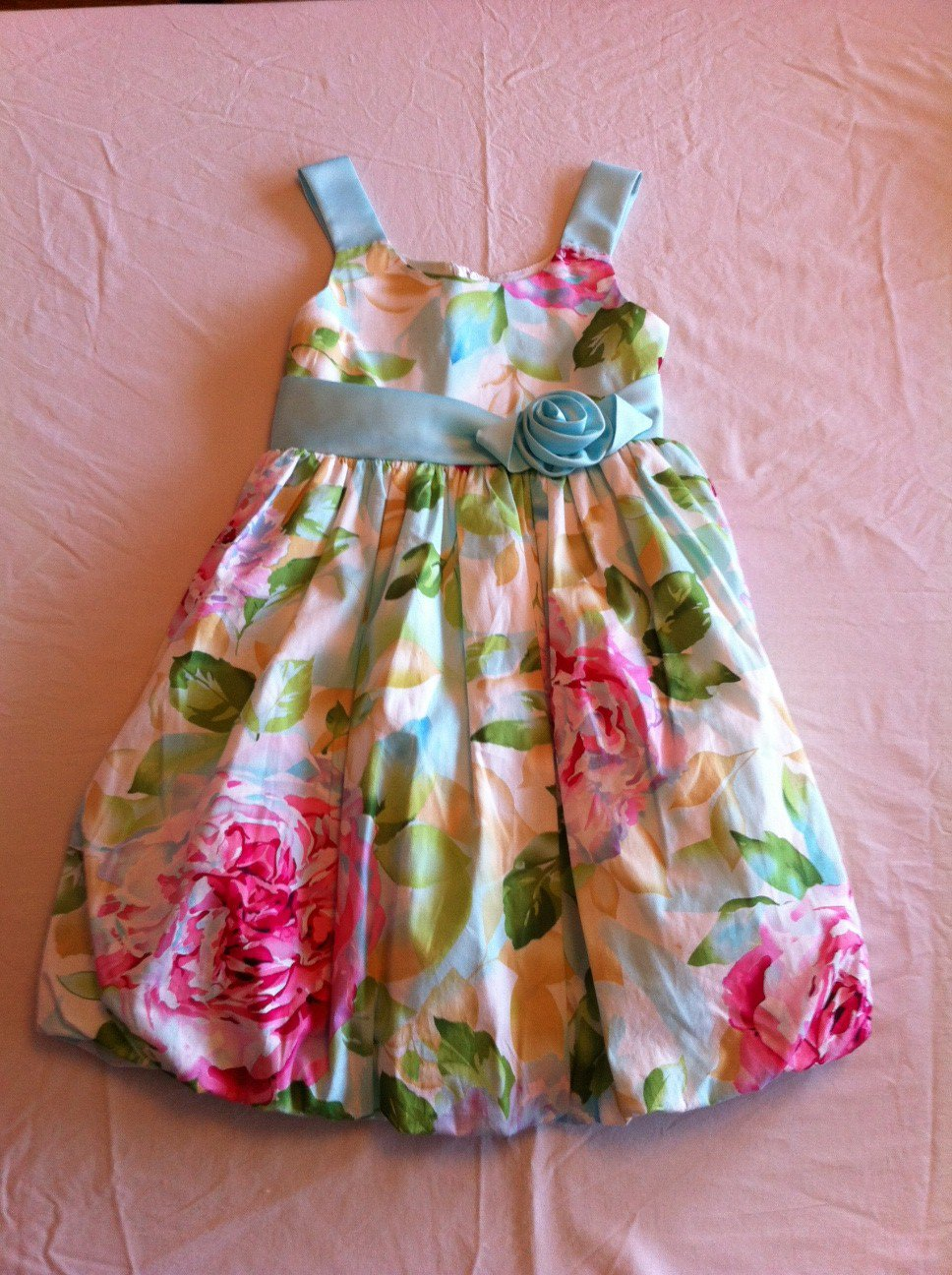 Bonnie Jean Size 6x Blue/Green/Pink Floral Bubble Skirt