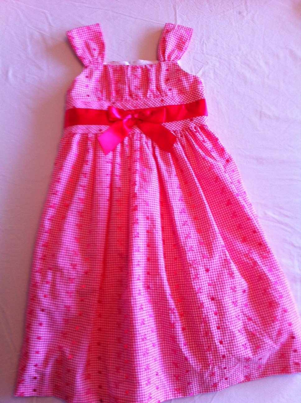 Bonnie Jean Size 10 Coral Embroidered Dress Bow