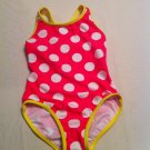 Girls Circo Size6/6X 1 Pc. Pink w/ Yellow Trim White Polka Dots UPF 50+