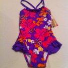 Girls St. Tropez Size 5 Floral Purple/ Orange/ Pink 1 Pc.