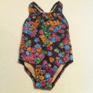 Girls 1 Pc. Speedo Size 4 Black/Multicolor Love and Peace Design