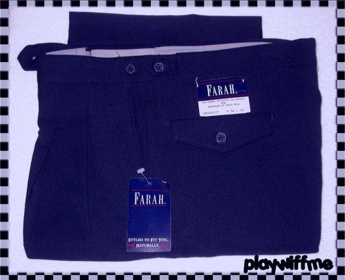 Farah Men's Pleated Slacks - Navy - 34 X 34 - NWT