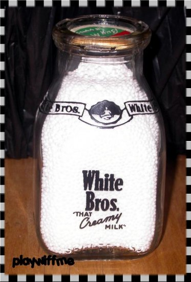 Vintage White Bros Milk Bottle - 1/2 Pint - Black Pyro