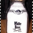 Vintage White Bros Milk Bottle - 1/2 Pint - Black Pyro