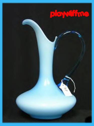 Blue Art Glass Ewer / Pitcher With Applied Handle