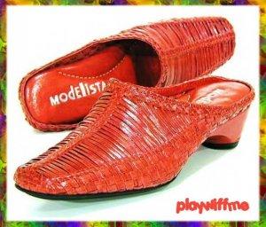 Modellista Red Mules Shoes - Size 5.5 Medium