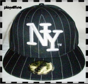 New York Fitted Embroidered Baseball Cap - Size Small