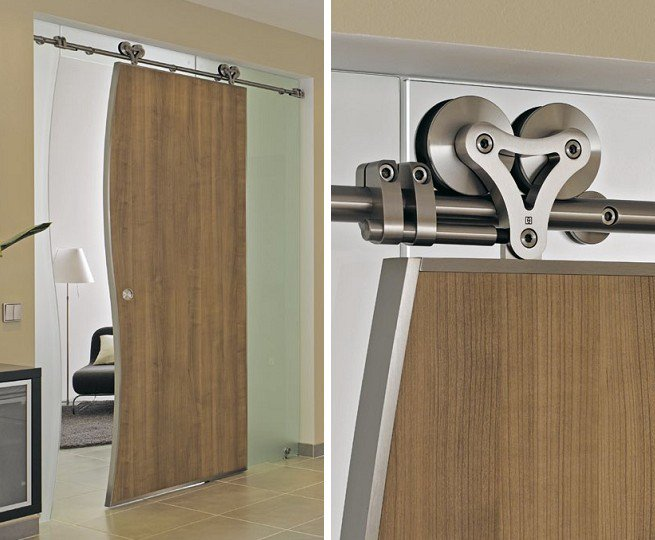 Interior Heavy Duty Sliding Wood Door System With Free
