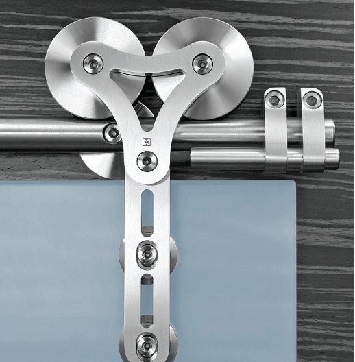Heavy Duty Barn Style Glass Sliding Door Hardware With