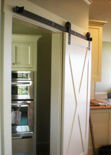Rustic barn door hardware with ORB finish