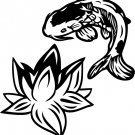 Koi Fish - Lotus Vinyl Sticker Decal, Car Decal, Bumper Sticker, Laptop Decal, Window Sticker