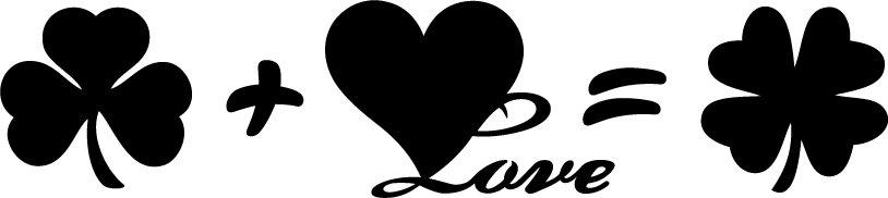 Clover Heart Love Vinyl Sticker Decal, Car Decal, Bumper Sticker, Laptop Decal, Window Sticker