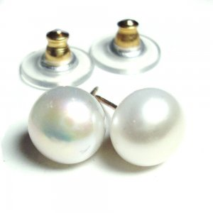 8-9mm White gold filled pearl post earrings