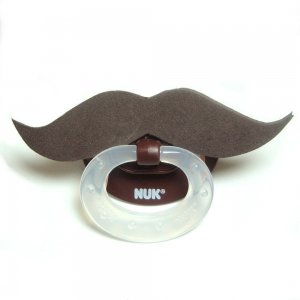 Brown football mustache pacifier 0 to 6 mths #601