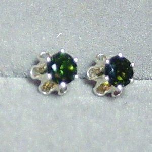 4mm Green Tourmaline sterling buttercup post earrings