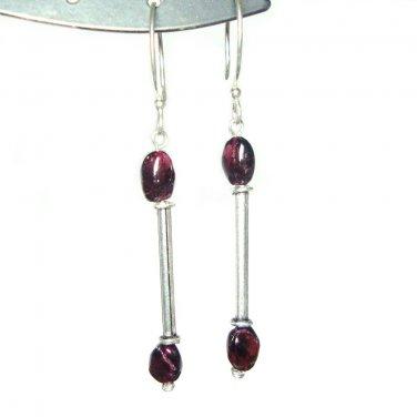 Garnet and silver french hook earrings