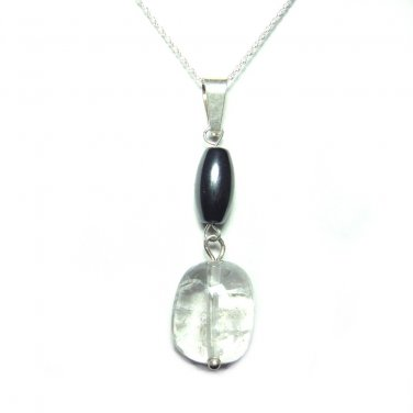 Quartz crystal and Hematite pendant with chain #201