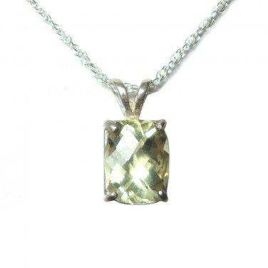9x7mm Lemon Quartz pendant with chain