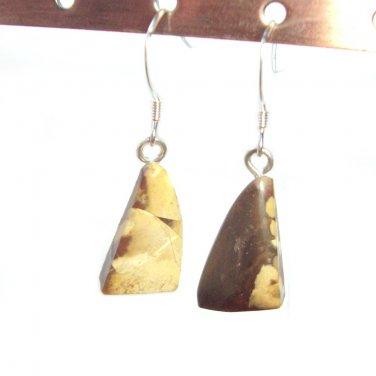 yellow jasper dangle french hook earrings #201