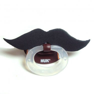 Black football mustache pacifier 6 to 18 months