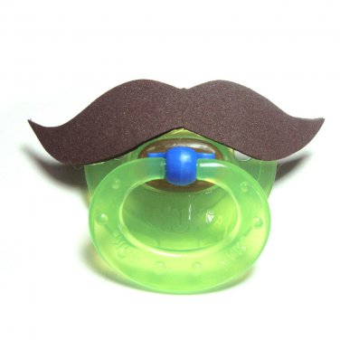 Brown mustache pacifier 6 to 18 months #403