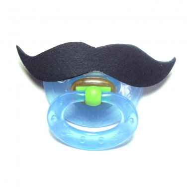 Black mustache pacifier 6 to 18 months #404