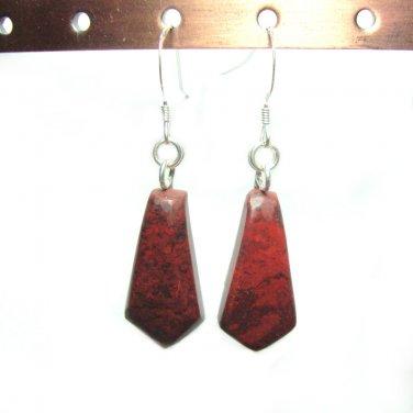 Red jasper dangle french hook earrings