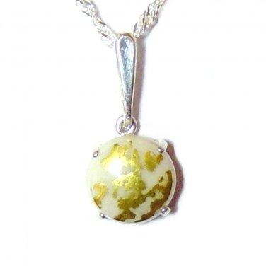 10mm round Goldenite Quartz pendant with chain