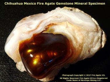 Rare Chihuahua Mexico Fire Agate Gemstone Mineral Display Gem Specimen MXM002