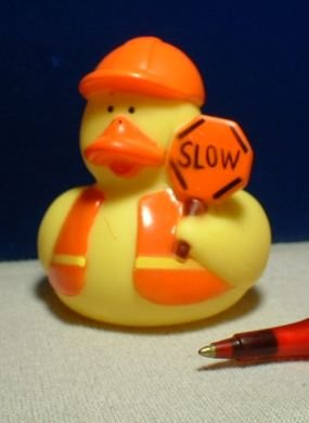 Construction Rubber Ducky with Slow Sign
