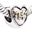 """""""Mom"""" Heart w/ Clear CZ Crystal  017"""