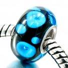 Aqua Spots on Black Glass 043