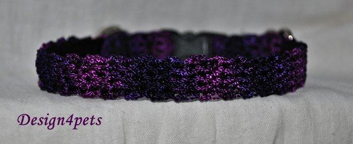 Shadow- Unique handmade purple crochet Cat collar - breakaway adjustable safety cat collar