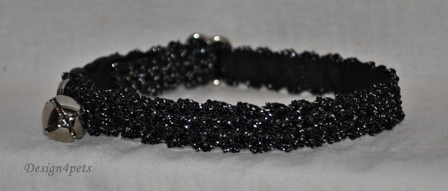 Melody - black silverglitter cat collar - unique handmade design