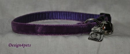 Dakota - Unique handmade breakaway adjustable- purple velvet cat collar
