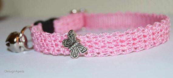 Butterfly- Unique handmade crochet Cat collar - pink breakaway adjustable safety cat collar