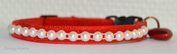 Pearl- Unique handmade breakaway cat collar - red velvet cat collar