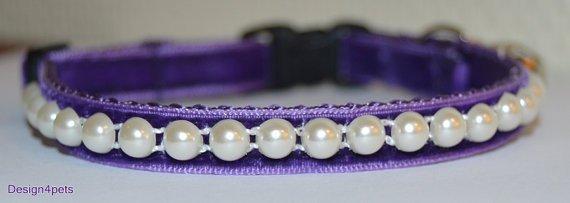 Pearl- Unique handmade breakaway cat collar - purple velvet cat collar