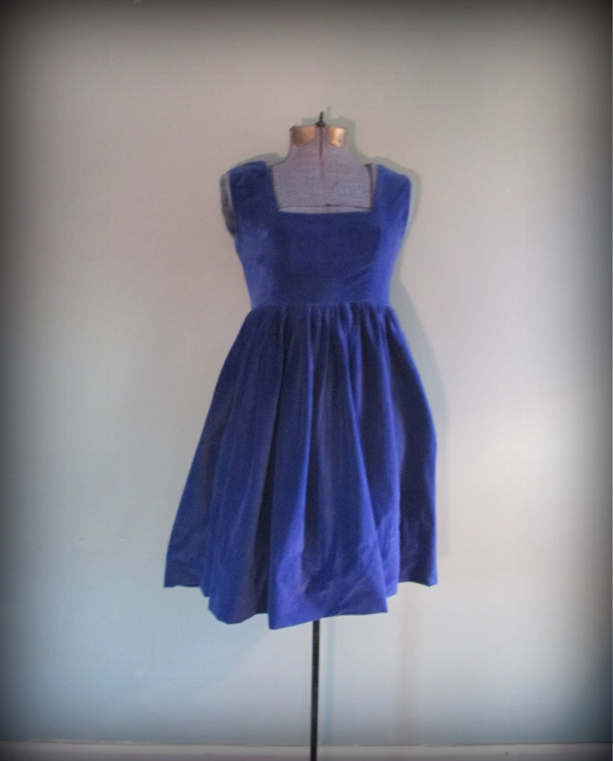 1960s Vintage Women's Mini Dress Dark Blue Size Small