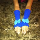 Fingerless Gloves with Bow (Blue)