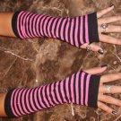Striped Fingerless Gloves (Hot Pink)