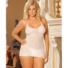 Babydoll embellished w/satin bows and g-string pink polka dot white