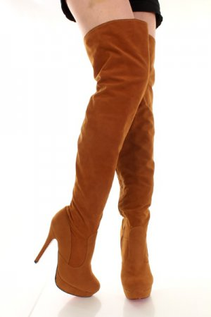 Camel Smooth Faux Suede Thigh High Platform Boots