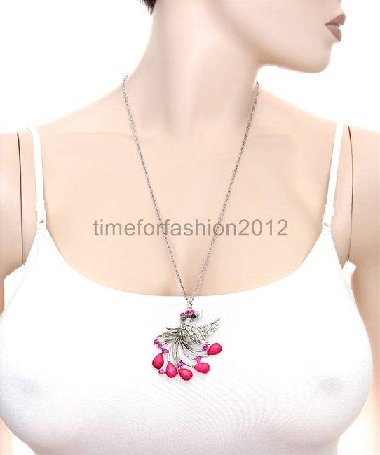FASHION NECKLACE SUPER CHIC SEXY PINK PEACOCK