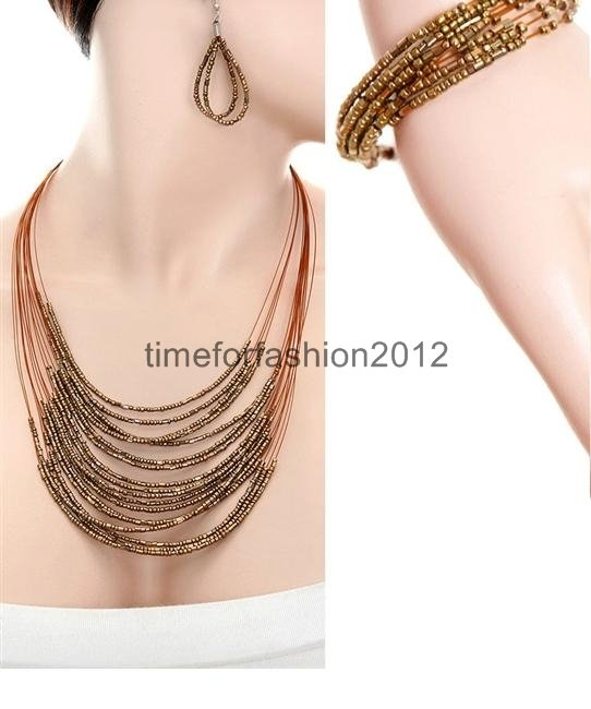 FASHION NECKLACE, EARRING AND BRACELET SET SUPER CHIC SEXY MULTI BEAD BROWN ULTRA COOL