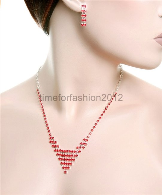 FASHION NECKLACE, EARRING SET SUPER CHIC AND SEXY DELICATE RED GEMS ELEGANT
