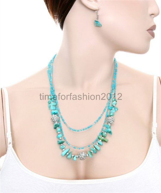 FASHION NECKLACE, EARRING SET SUPER CHIC AND SEXY TQ BEADS AND GEMS MULTI BEAD
