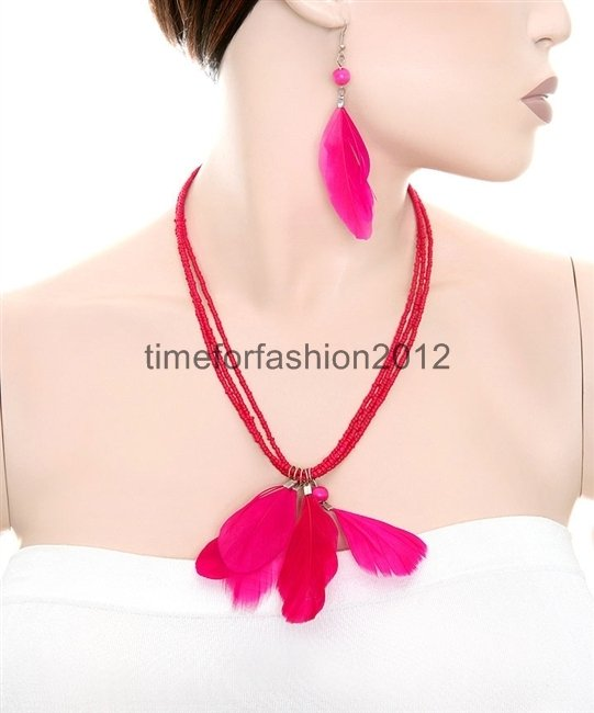 FASHION NECKLACE, EARRING SET SUPER CHIC AND SEXY PINK MULTIBEAD WITH BRIGHT PINK FEATHERS