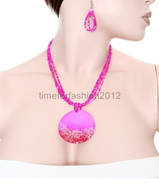 FASHION NECKLACE, EARRING SET SUPER CHIC AND SEXY PINK BEADS MULTICHAIN WITH LARGE PINK PENDANT