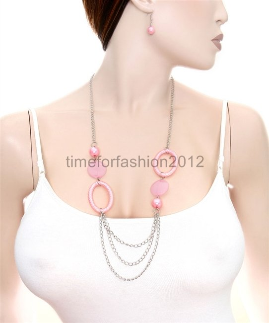 FASHION NECKLACE, EARRING SET SUPER CHIC AND SEXY PINK HOOPS AND MULTI CHAIN DRAPE, CLASSY